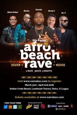 afro beach rave with davido shina peller and nasty c to hold march
